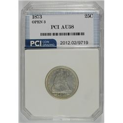 1873 SEATED QUARTER WITH ARROWS, PCI AU/BU