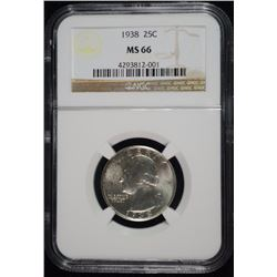 1938 WASHINGTON QUARTER, NGC MS-66