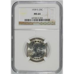 1939-S WASHINGTON QUARTER, NGC  MS-64