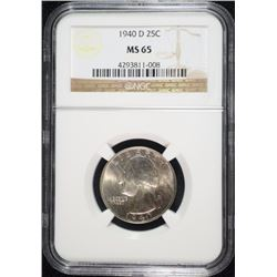 1940-D WASHINGTON QUARTER, NGC MS-65