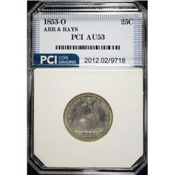 1853-O ARROWS AND RAYS SEATED QUARTER, PCI  AU