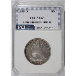 1858-O SEATED HALF DOLLAR, PCI AU/BU