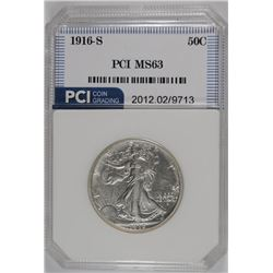 1916-S WALKING LIBERTY HALF DOLLAR, PCI  CHOICE BU