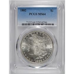 1882 MORGAN SILVER DOLLAR, PCGS MS-64