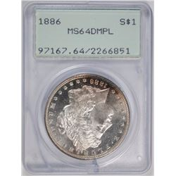 1886 MORGAN SILVER DOLLAR PCGS MS 64 DMPL - OLD GREEN HOLDER