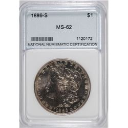 1886-S MORGAN SILVER DOLLAR, NNC CHOICE BU  SEMI-KEY
