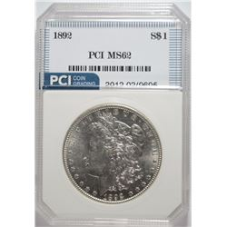 1892 MORGAN SILVER DOLLAR, PCI GEM BU  KEY DATE