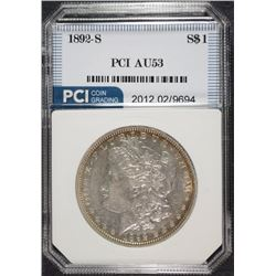 1892-S MORGAN SILVER DOLLAR, PCI  AU  KEY DATE!
