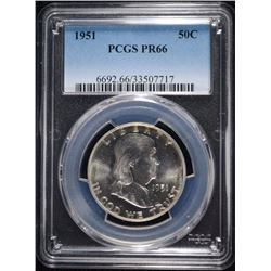 1951 FRANKLIN HALF DOLLAR, PCGS PR-66! KEY DATE!!