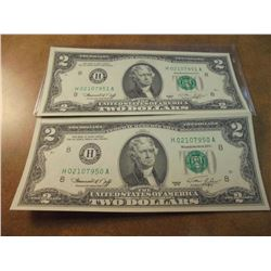 2-1976 $2 US FRN'S CRISP UNC CONSECUTIVE SERIAL NUMBERS H02107950A-H02107951A