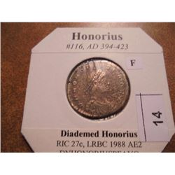 394-423 A.D. HONORIUS ANCIENT COIN (FINE)