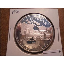 1981 CANADA LOCOMOTIVE SILVER DOLLAR PROOF .3750 OZ. ASW
