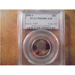 1990-S WASHINGTON QUARTER PCGS PR68 DCAM