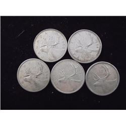 5 ASSORTED CANADIAN SILVER 25 CENTS