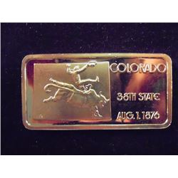1 TROY OZ .999 FINE SILVER INGOT GOLD PLATED COLORADO