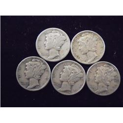 5 ASSORTED 1940'S MERCURY DIMES