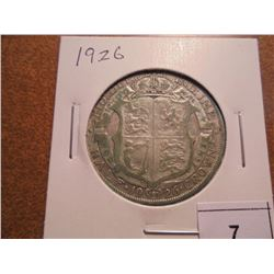 1926 GREAT BRITAIN SILVER HALF CROWN