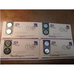 4-US 50 STATE QUARTERS  PNC'S US MINT 2004 P & D FLORIDA, 2006 P & D COLORADO AND 2-2007 P