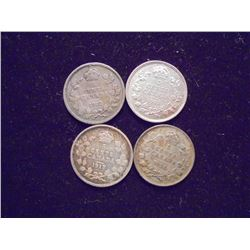1912,13,17 & 1920 CANADA SILVER 5 CENTS