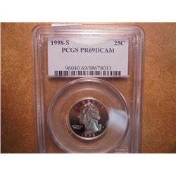 1998-S WASHINGTON QUARTER PCGS PR69 DCAM