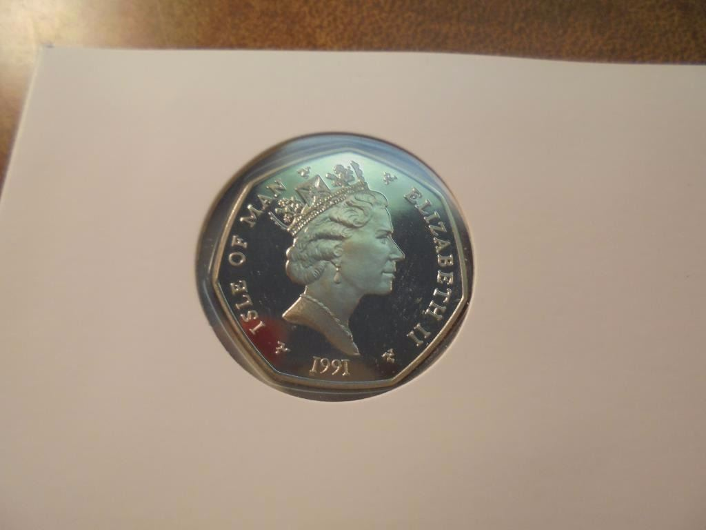 1991 Isle Of Man Proof 50 Pence In Xmas Card By Pobjoy Mint