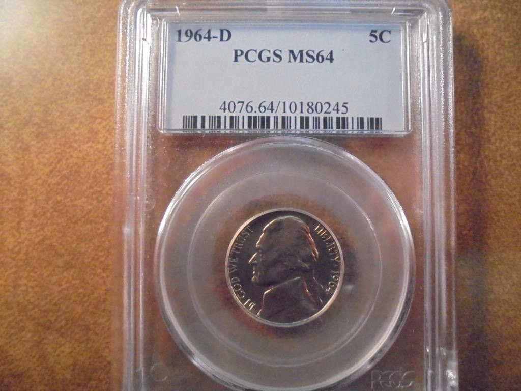 Image 1 1964 D JEFFERSON NICKEL PCGS MS64