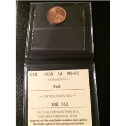 1939 Canada 1 Cent ICCS MS65 Red