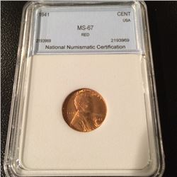 1941 Lincoln Cent NNC MS67 Red