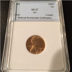 1942 Lincoln Cent NNC MS67 Red
