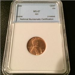 1946 Lincoln Cent NNC MS67 Red