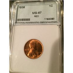 1938 Lincoln Cent NNC MS67 Red