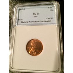 1952-S Lincoln Cent NNC MS67 Red