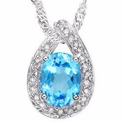Natural Blue Topaz & Diamond Pendant