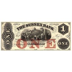 1800s $1 State of New Jersey Sussex Bank Obsolete Currency Note