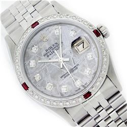 Mens Rolex Stainless Steel Meteorite Diamond and Ruby Datejust Wristwatch