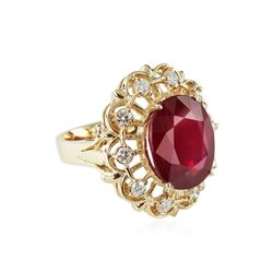14KT Yellow Gold 12.00ct Ruby and Diamond Ring