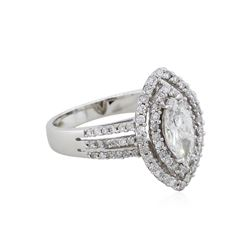 14KT White Gold 1.45ctw Marquise Diamond Engagement Ring