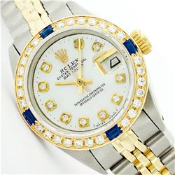 Womens Rolex Two-Tone Mother Of Pearl Sapphire Datejust Wristwatch