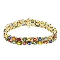 14KT Yellow Gold 26.50ctw Multi Color Sapphire Bracelet
