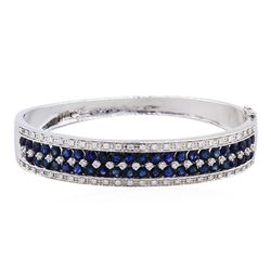 14KT White Gold 7.51ct Sapphire and Diamond Bangle Bracelet