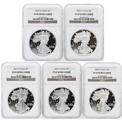 5 Coin Set 2001-2005 Silver Eagle Coins NGC PF69 Ultra Cameo