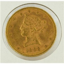 1892 $10 Liberty Head Gold Eagle Coin