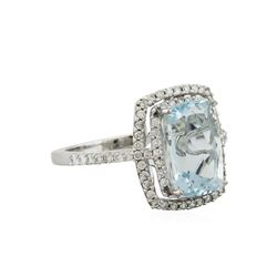 14KT White Gold 3.95ct Aquamarine and Diamond Ring