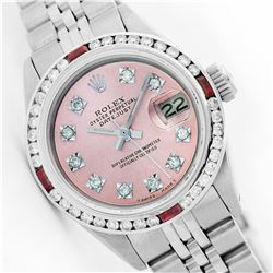 Womens Rolex Stainless Steel Diamond and Ruby Datejust Wristwatch