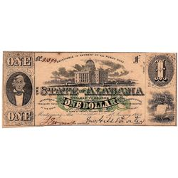 1863 $1 State of Alabama Confederate Obsolete Currency Note