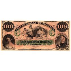 1800s $100 Bank of Louisiana New Orleans Obsolete Currency Note