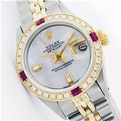 Womens Rolex Two-Tone Baguette Diamond And Ruby DateJust Wristwatch