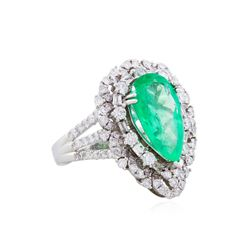 18KT White Gold 4.83ct Emerald and Diamond Ring