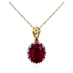 14KT Two-Tone Gold 6.10ctw Ruby and Diamond Pendant With Chain