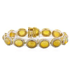 14KT Yellow Gold 15.26ctw Opal and Diamond Bracelet